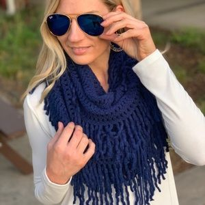 Navy Lattice Fringe Knit Infinity Scarf